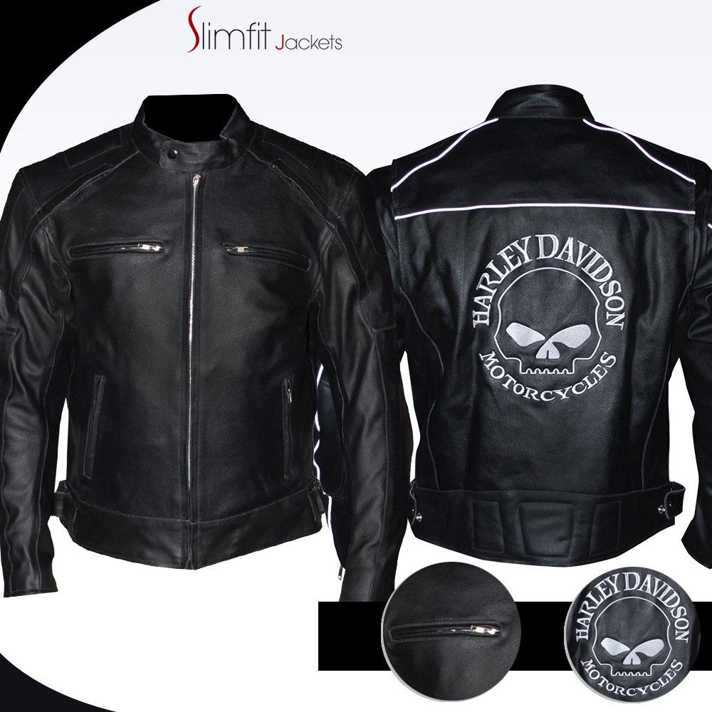 1afc94cfeb0 Harley Davidson Reflective Skull Motorcycle Leather Jacket