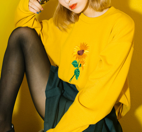 DETAILS Available Sunflower Sweater Color Yellow And Dark Purple Material