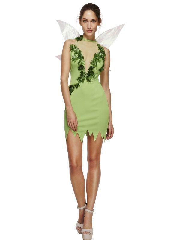 Tinkerbell Pixie Green Woodland Forest Fairy Womens Fancy Dress Costume Wings