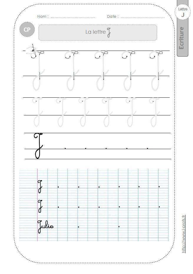 Bien connu la lettre J majuscule au CP:FICHES d'ECRITURE. Modèles d'écriture  QX48