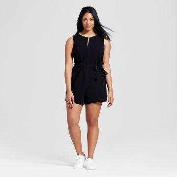 d275d33aa876 Women s Plus Black Tie Waist Romper - Victoria Beckham for Target ...