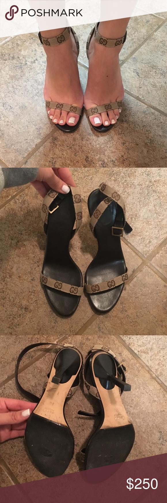 Auth. Gucci Monogram strappy heels