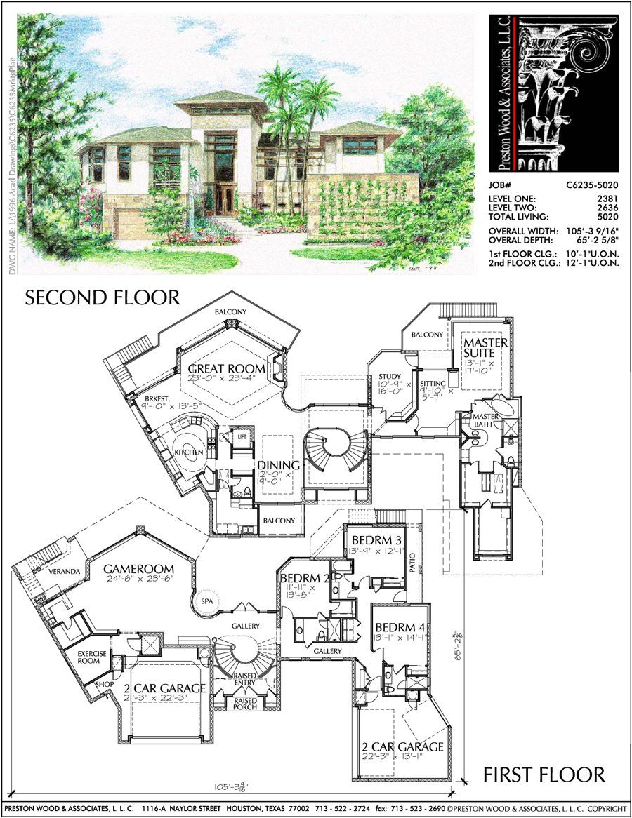 Unique Two Story House Plan Floor Plans For Large 2 Story Homes Desi Preston Wood Associates Two Story House Plans Two Storey House Plans House Plans