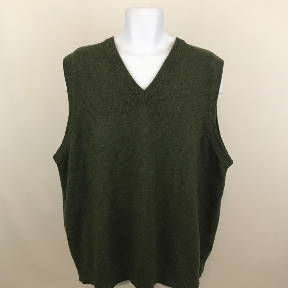LL Bean Mens Sweater Vest Size 2XL 100% Lambs Wool Olive Green ...