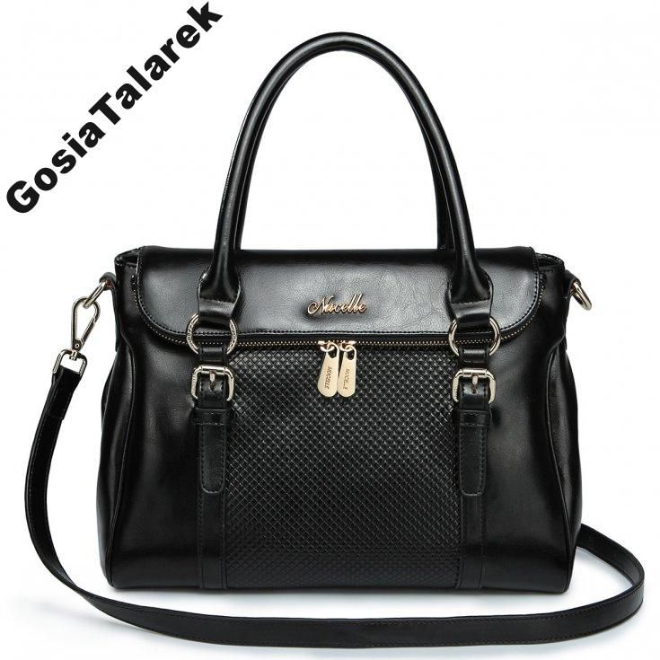 Okazja Nucelle Shopper Torebka Skorzana Cena Hurt 4839930545 Oficjalne Archiwum Allegro Black Leather Tote Bag Leather Tote Bag Embossed Bag