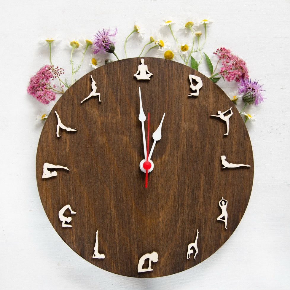 Yoga wood clock yoga poses wooden wallclock products wall clock made with natural wood with yoga sportsmens amipublicfo Image collections