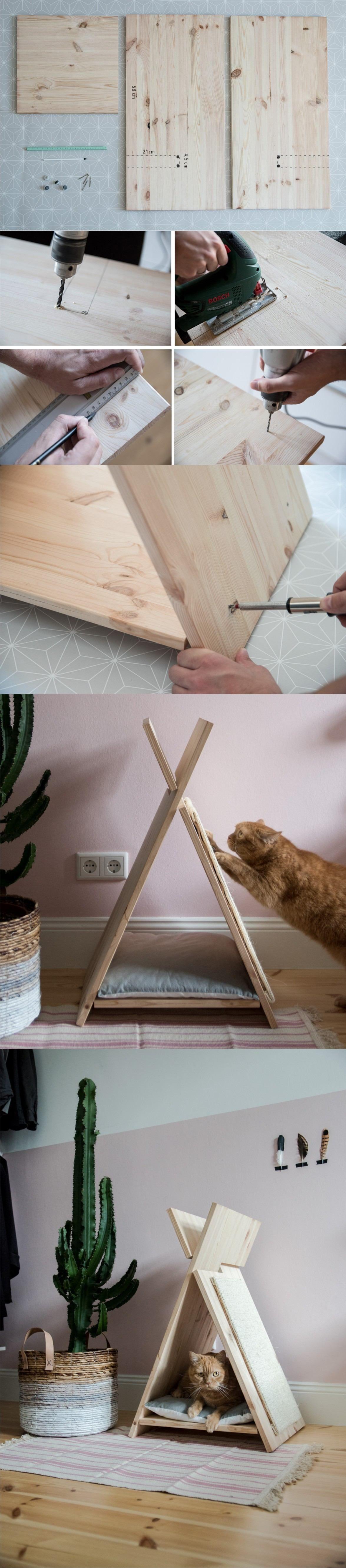 Griffoir Chat Fait Maison casita con forma de tipi para tu gato - vía craftifair