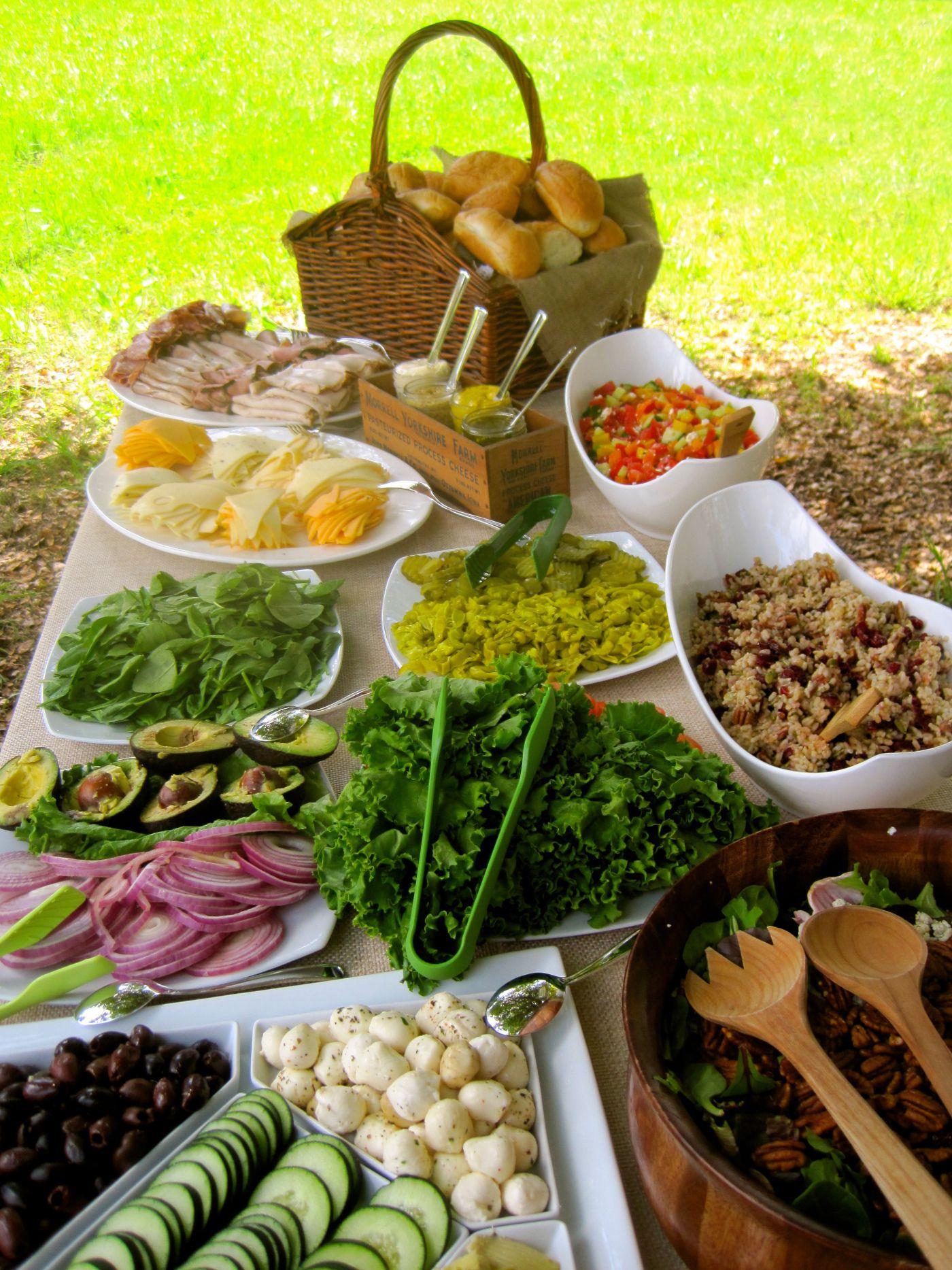 Submarine Sandwich Bar   Elegant & Appetizing  White or ...  Salad Bar Luncheon Ideas