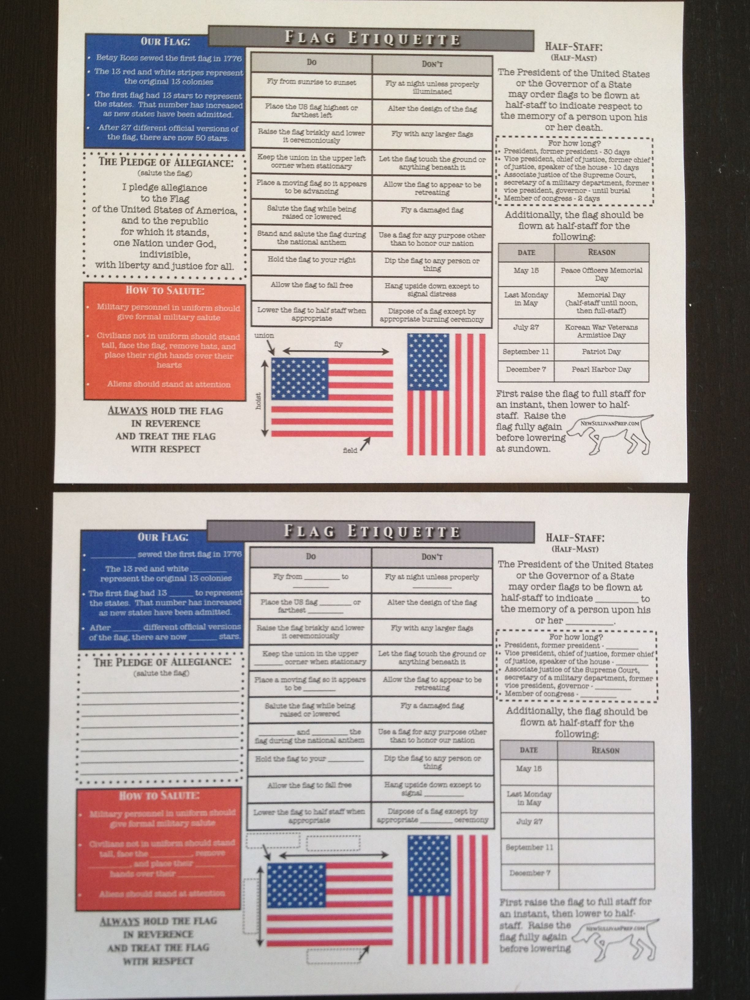 American Flag Etiquette Worksheets Free From Newsullivanprep Com