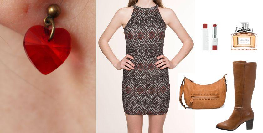 Idée de tenue féminine et chic à assortir aux boucles d'oreilles coeur Divine et Féminine, pour la Saint-Valentin par exemple.
