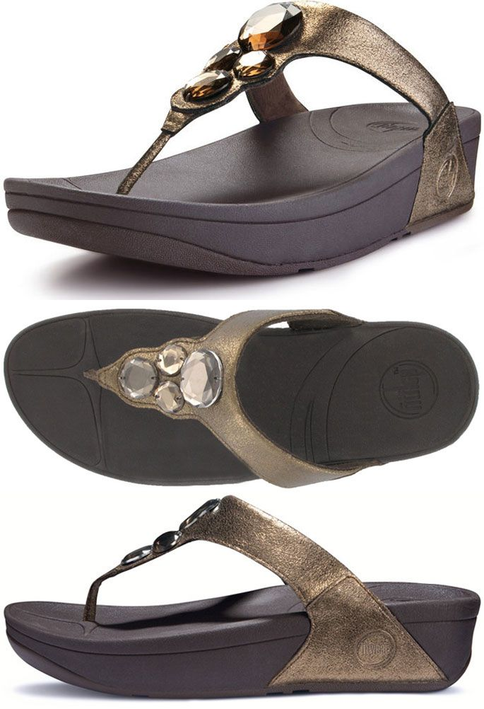 FitFlop Lunetta Sandals - Pale Bronze - Size 9 Only