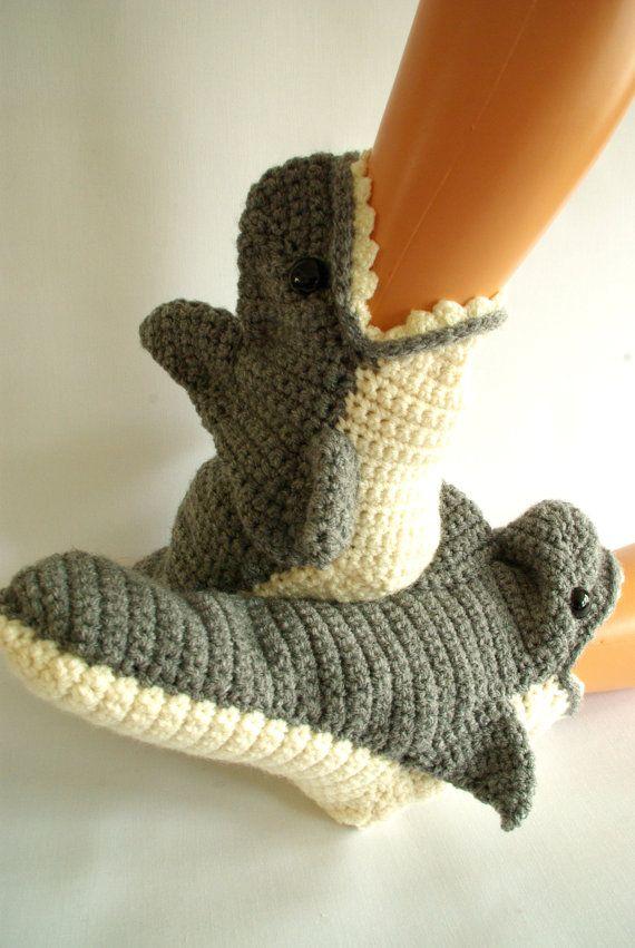 Crochet Shark Slippers Shark Attack Slippers White Shark Novelty