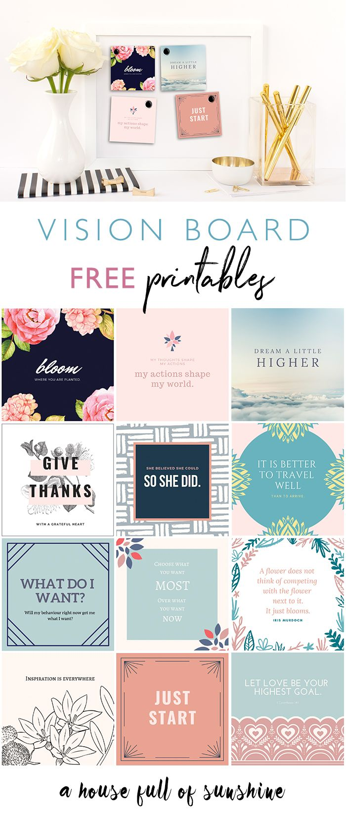 FREE 2019 Vision board printables!