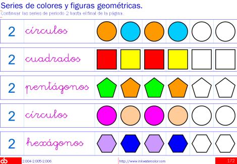 Series numéricas, de colores y figuras geométricas / Hojas de ...
