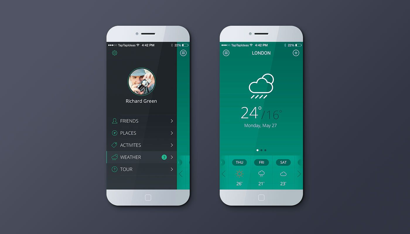 green and grey mobile app Google Search App design