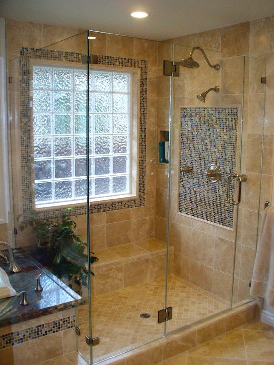 Glass Block Window Shower Design, Pictures, Remodel, Decor