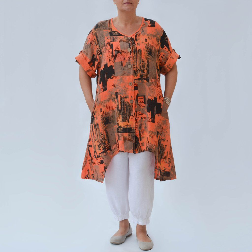 052388f7f7 City Design Linen Tunic Shirt - 8625
