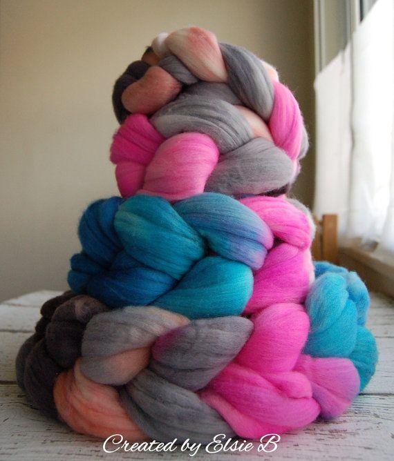Superfine Merino 'Hello Gorgeous' 4 oz hand dyed wool roving by CreatedbyElsieB