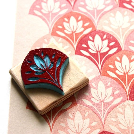 Photo of Bullet Journal art deco stamp, flower scale pattern, bujo, hand carved, wood mounted