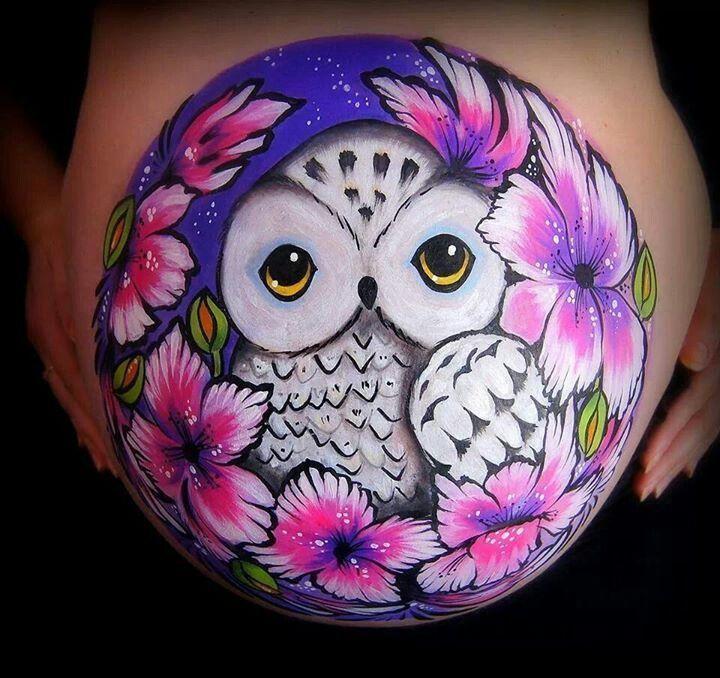 Owl Belly Painting Beautiful Bump Body Art Pinterest