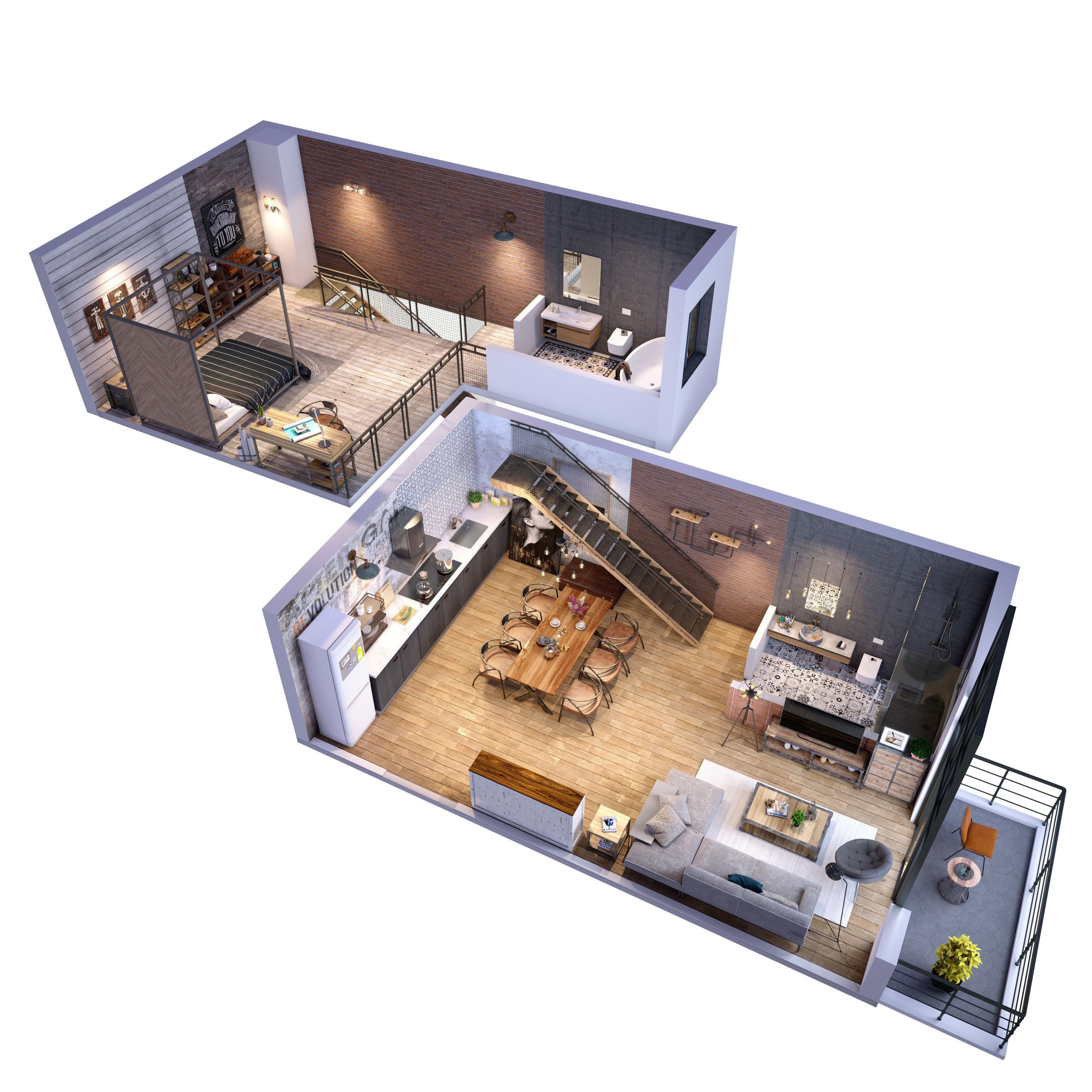 Loft Apartment 3d Model Cgtrader Small Apartment Design Loft Apartment Apartment Architecture