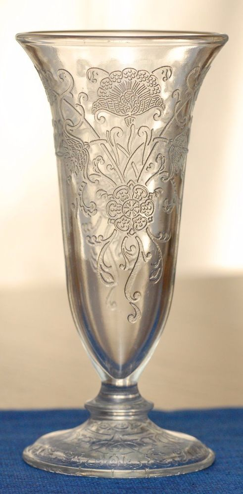 """Pattern: Florentine No. 2. (nickname) """"Poppy"""" for the flowers. Parfait Glass Vase measures 6"""" tall and is in very good condition. """"One of the Top Collected depression glass Patterns."""".   eBay!"""