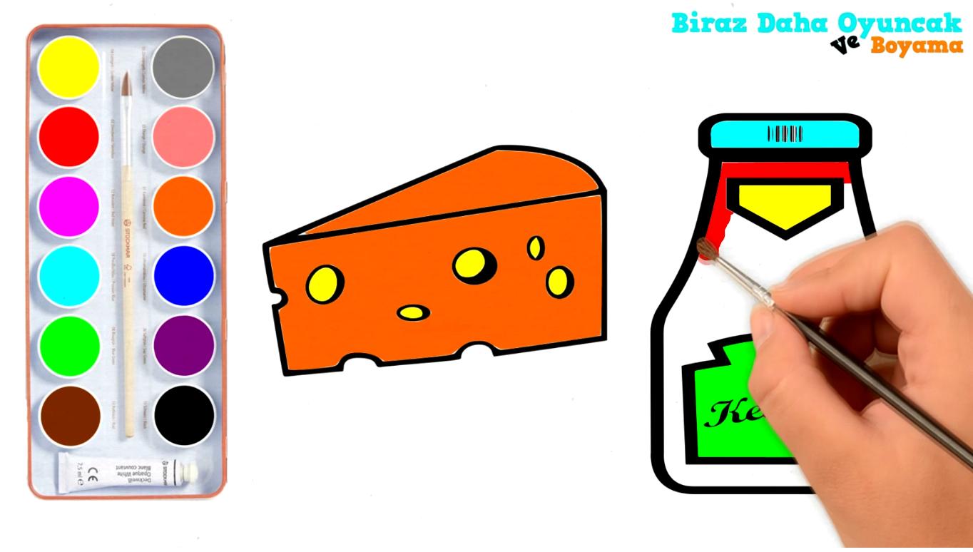 Ketçap Ve Peynir Boyama önce Kalemle çizdik Sonra Sulu Boyayla