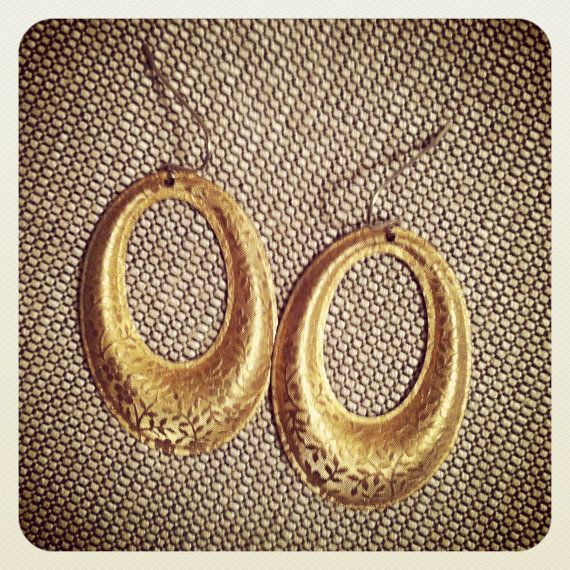 Vintage Golden Oval Earrings. $15.00, via Etsy.