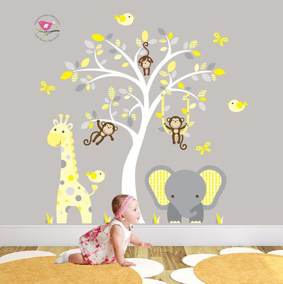 Jungle Decal Yellow And Grey Nursery Decor Feat Cheeky Monkey A Giraffe Baby Elephant White Tree Mural Gender Neutral Wall Stickers