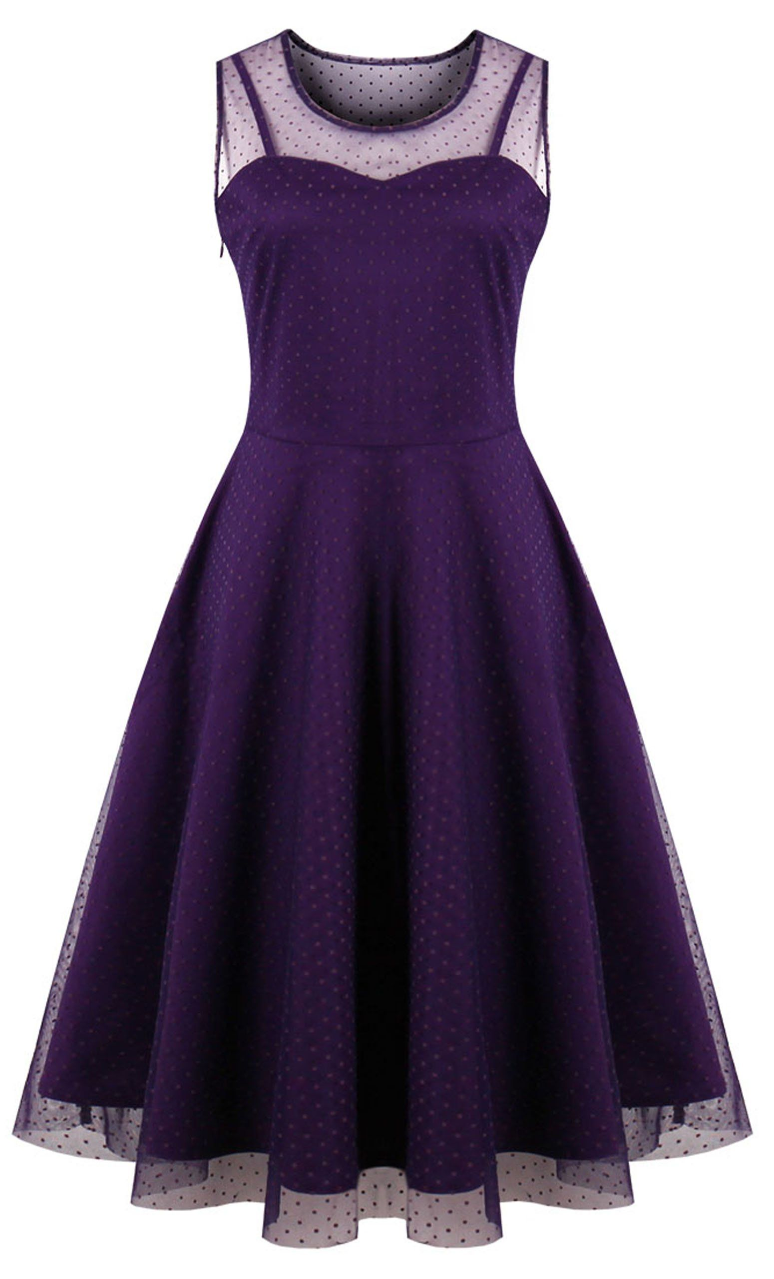 5040327654 KILOLONE Womens 50s Plus Size Dresses Christmas Party Vintage Retro  Bridesmaid Evening Lace Sleeveless Cocktail Dress Purple Medium   You could  find out ...