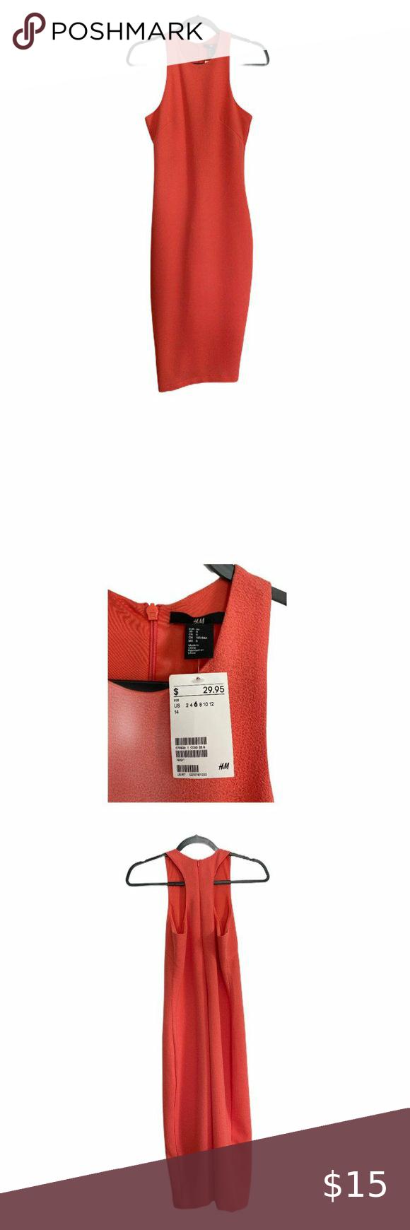 H M Coral Racerback Bodycon Dress Midi Sz 6 Nwt Bodycon Dress Midi Dress Bodycon Midi Dress [ 1740 x 580 Pixel ]