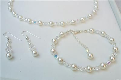 452f53d594 AB Clear Crystal and Pearl Bridal Jewellery Set Necklace Bracelet and  Earrings | eBay