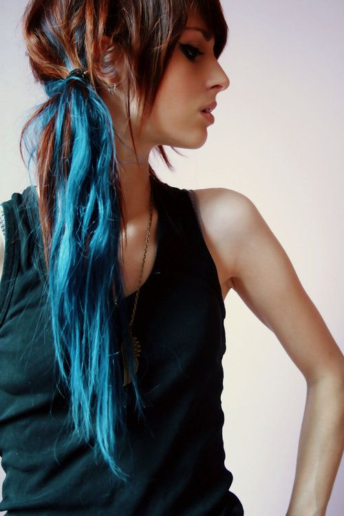 brown and teal blue ponytail