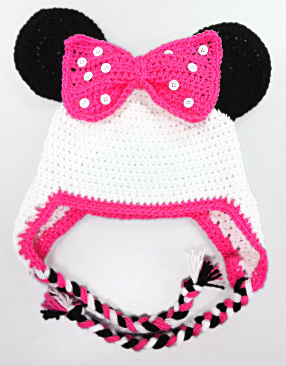 Minnie Mouse Hat (Pink, White & Black). $20.00, via Etsy. First ...