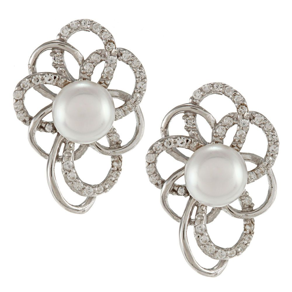 Sterling Silver White FW Pearl and Cubic Zirconia Earrings