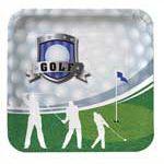 Golf Deportes Tema Forma Cuadrada 23 cm Plato de Papel - Unidad
