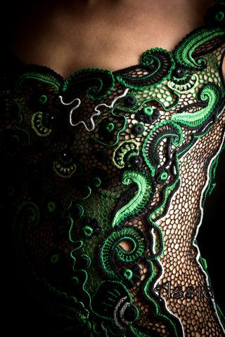 the black and green applique designs reminds me of moss and vines in the forest!  #ISOBeauty