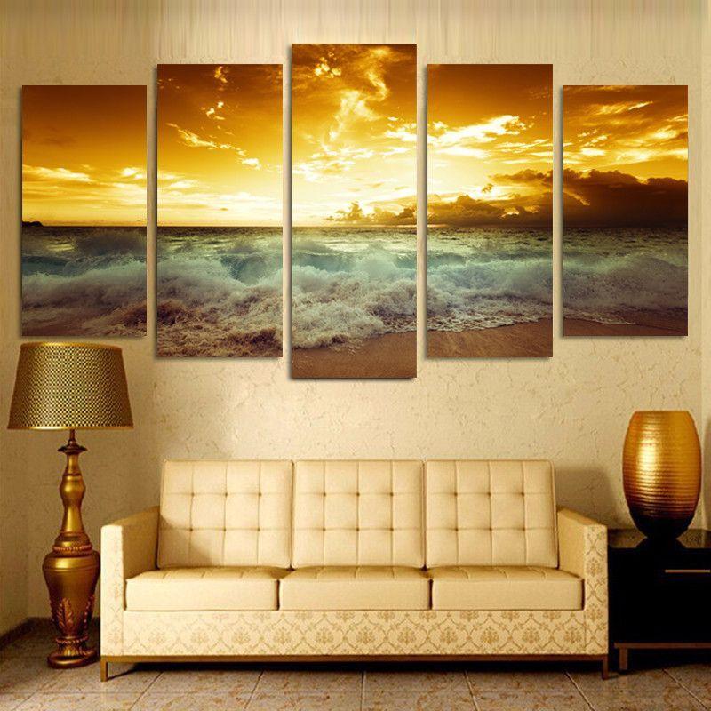 Unframed 5 Piece Yellow Sea sun Modern Home Wall Decor Canvas ...