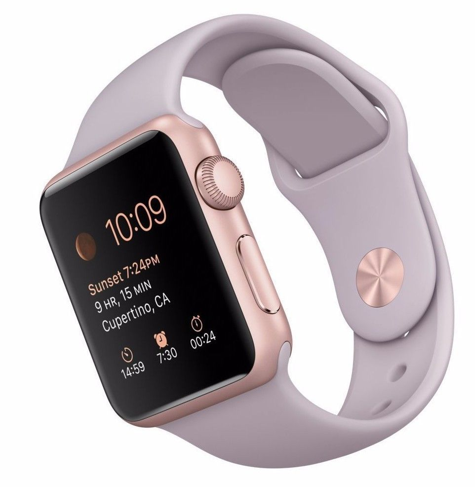 New Apple Watch Sport 38mm Rose Gold Aluminum Case Lavender Sport Band Mlch2ll A Buy Apple Watch Best Apple Watch Apple Watch