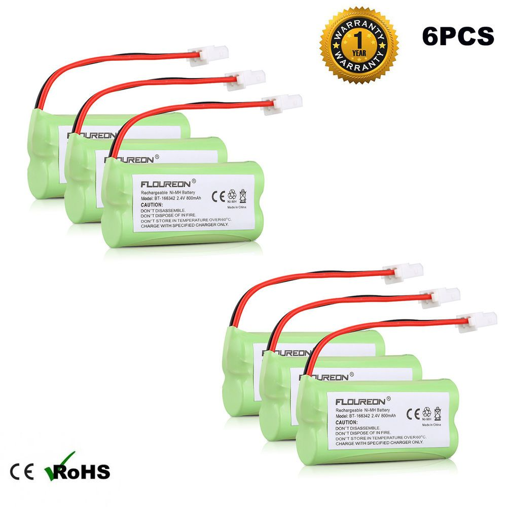 small resolution of 6x 2 4v 800mah ni mh phone battery pack for at t vtech bt183342 bt283342 tl86009 ebay link