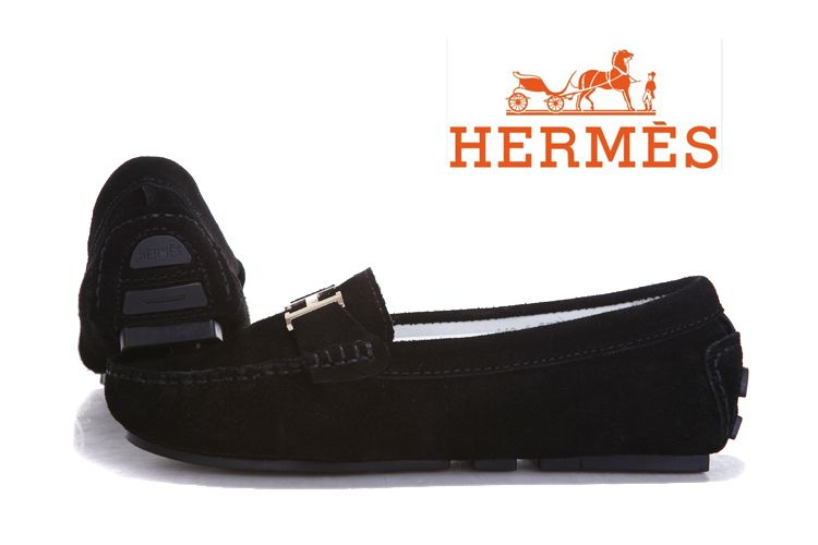 Hermes Ladies Moccasin Black