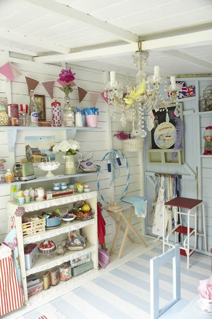 Summerhouse Shed Interior Love The Idea For My Shed Interior Nice White Walls To Make It Brighter Shabby Chic Crafts Craft Shed Shed Interior