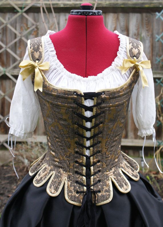 18th Century Stays/Corset Gold and Black Brocade Custom Made