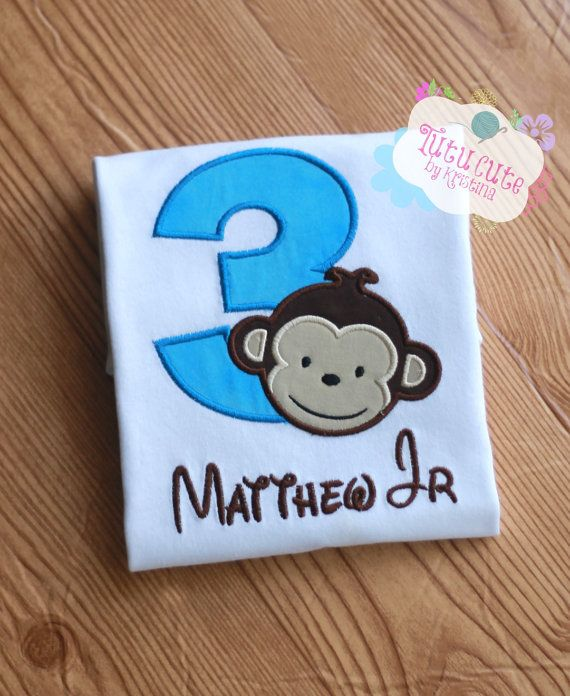 Boys Personalized Birthday Shirt Mod Monkey Party Sizes From 0 3 Months To Size 8 Baby Toddler Kids 1st