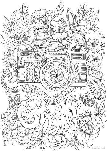 Smile  Printable Adult Coloring Pages from Favoreads  Camera with birds colouring page