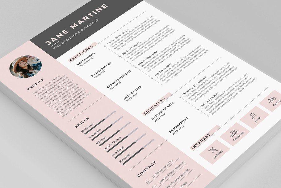 Resume/CV Jane in 2020 Unique resume template, Clean