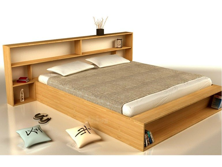Wooden double bed with storage headboard SLIM by Cinius
