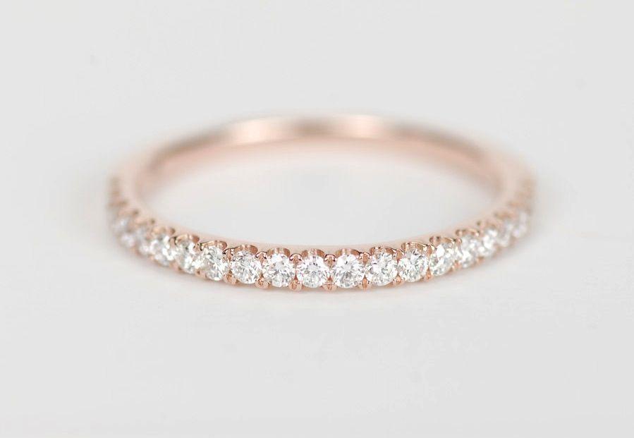 Elegant Rose Gold and Diamond Womens Wedding Band