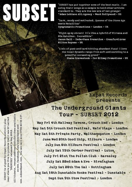 SUBSET TOUR 2012 FLYER UNDERGROUND GIANTS by subsetband, via Flickr