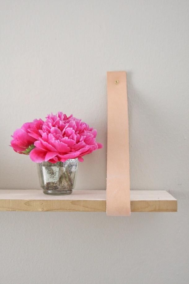 Cute! DIY leather-suspended shelf via Camille Styles